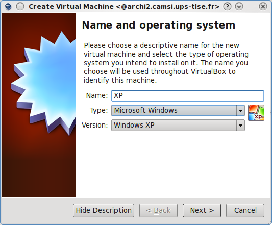 Create new XP VM