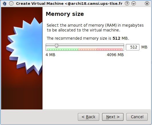 Memory size of a new VM